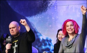 "Andy Wachowski, left, and Lana Wachowski speak during the press conference held Thursday in Seoul. The directors, known for ""The Matrix"" series, came to Korea for the first time to promote their new film ""Cloud Atlas."" Photo credit: Yonhap News"