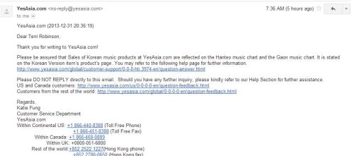 YesAsia's Reply for my e-mail to the CEO