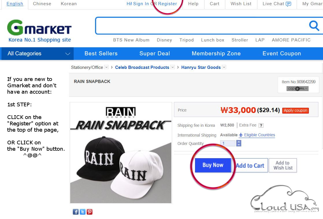 dfd268b35b [instructions][English ordering] How to purchase Rain's limited snapback  hat on Gmarket. | Cloud USA